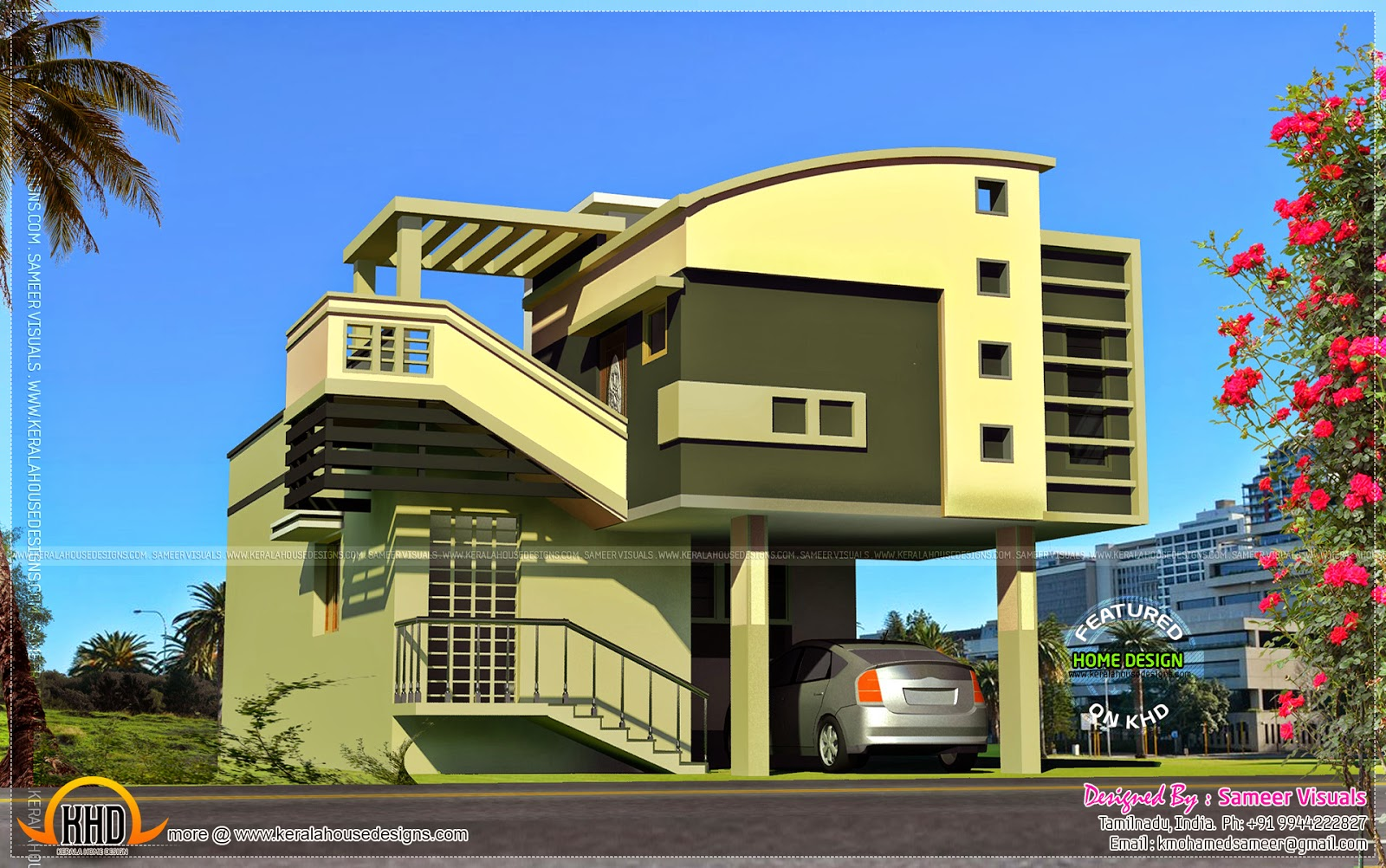 Mezzanine Floor Elevation : Mezzanine house exterior idea kerala home design and
