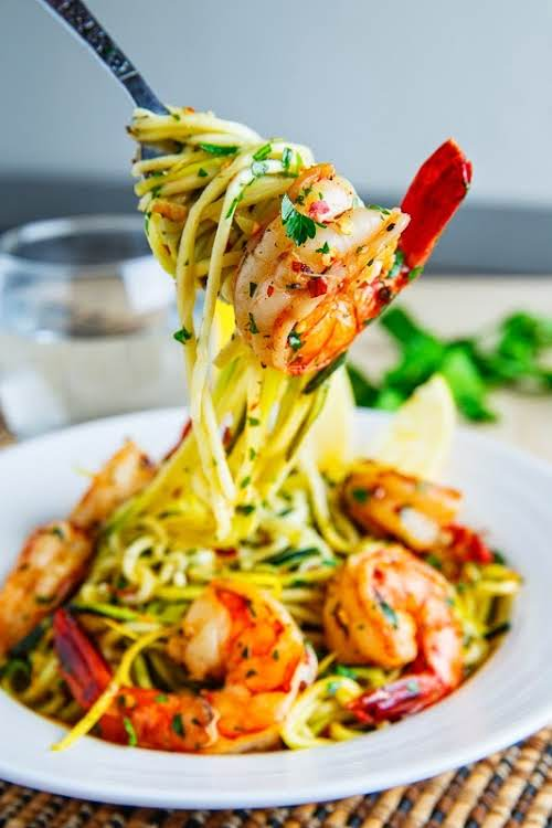 "Shrimp Scampi with Zucchini Noodles ""Shrimp served in a lemony, garlicky and..."