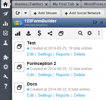List of Web Forms in Your HootSuite Dashboard