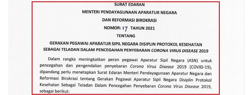Surat Edaran MENPAN atau SE Menpan RB Nomor: 17 Tahun 2021