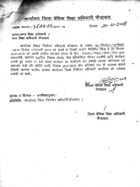 फैजाबाद: 25 जनवरी को राष्ट्रीय मतदाता दिवस मनाया जाने के संबंध में आदेश जारी