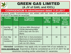 Green Gas Limited Corrigendum 2017 indgovtjobs
