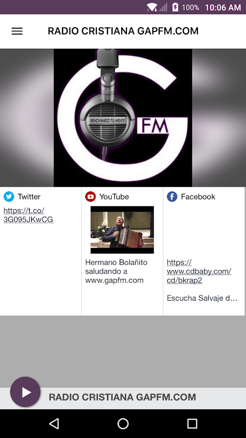 RADIO CRISTIANA GAPFM.COM- screenshot
