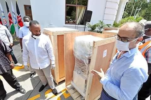 Mombasa Governor receiving Ventilators at Coast General Hospital. PHOTO | BMS
