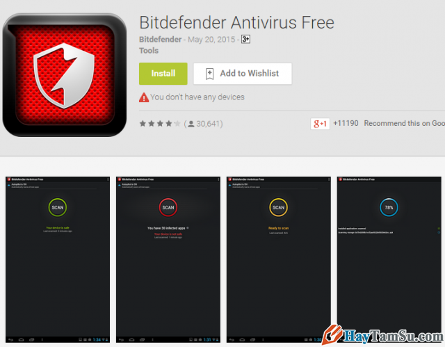 Ứng dụng Bitdefender Antivirus Free