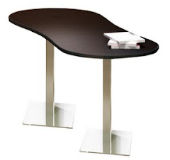 "Mayline Bistro Dining Peanut-Shape Table 72"" x 30"" - Stainless Steel Base - Thermally Fused Laminate (TPL)"
