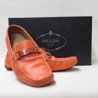Prada Orange Leather Driving Mocs