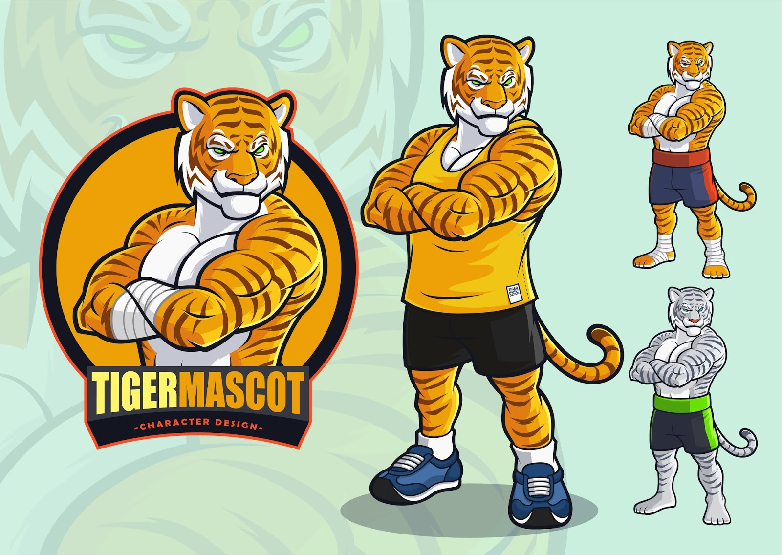 Tiger Mascot Spots Martial Arts Logo Illustration Free Download Vector CDR, AI, EPS and PNG Formats