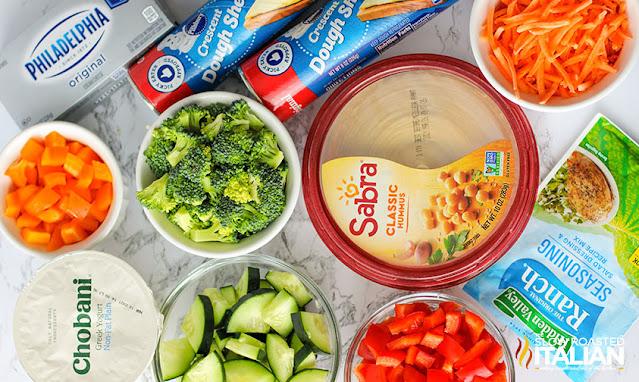 Veggie Pizza Appetizer ingredients