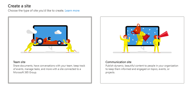 Create a modern team site collection in SharePoint online