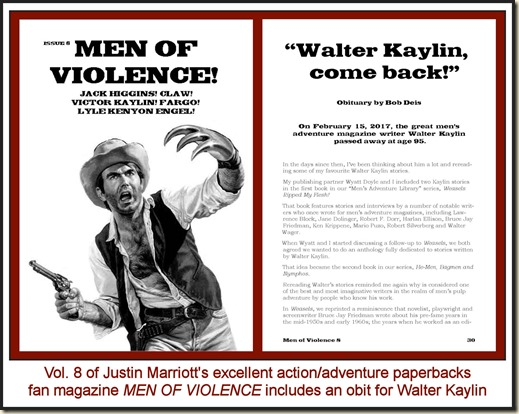Men of Violence, Vol 8, with Walter Kaylin obit