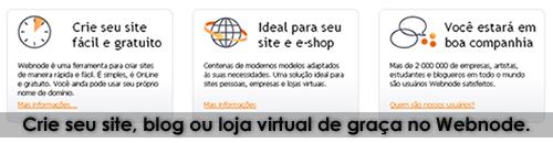 Crie seu site, blog ou loja virtual de graça no Webnode.