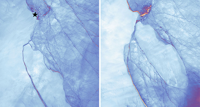 In July 2017, a massive iceberg calved off of Antarctica's Larsen C ice shelf (left). Since then, it has stayed in the area (right), bumping up against an elevated ice promontory (star). Photo: Joshua Stevens / NASA Earth Observatory