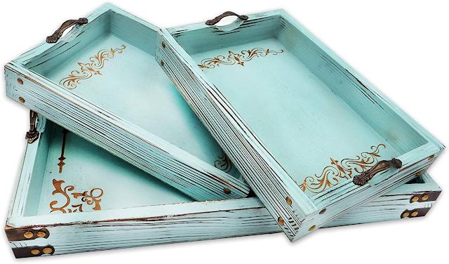 coastal living aqua blue serving trays