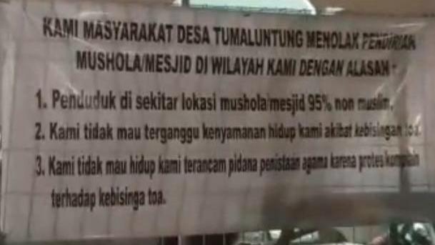 Musala di Minahasa Utara Dirusak gegara Lihat Jemaah Pakai Gamis dan Sorban
