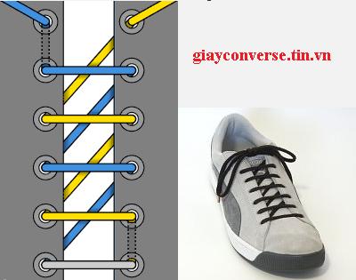 Cách buộc dây giày Converse kiểu răng cưa