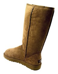 Stay warm and dry in the UGG classic tall winter boot. High quality, genuine sheepskin upper with premium fleece lining absorbs moisture and keeps your feet dry and comfortable in both warm and cold climates. Features a molded rubber lugged outsole for traction and slip-resistance. Wear with the shaft straight up or rolled down to add stylish flair.