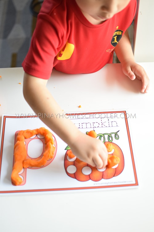 Using playdoh with the activity sheet