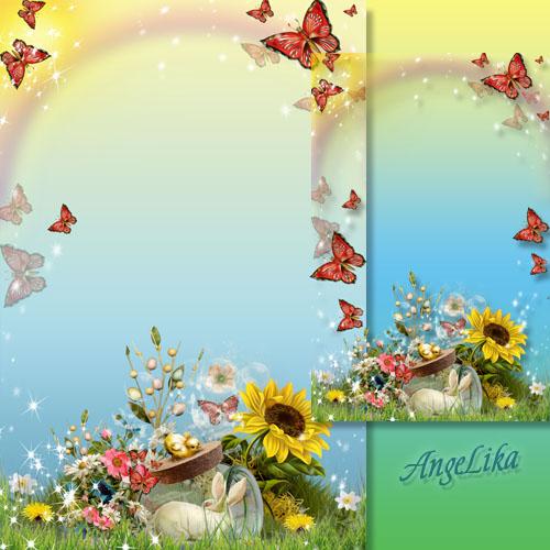 Рамка для фото - Бабочки на летней поляне, бабочки