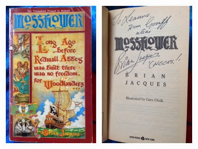 Picture of my autographed copy of Mossflower by Brian Jacques