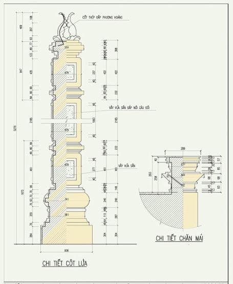 Bản vẽ chi tiết cột lửa và chăn mái
