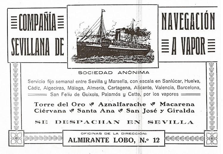 Propaganda de la Compañía Sevillana de Navegación a Vapor publicada en la revista MUNDO GRAFICO. Colección M. Rodriguez Aguilar.jpg