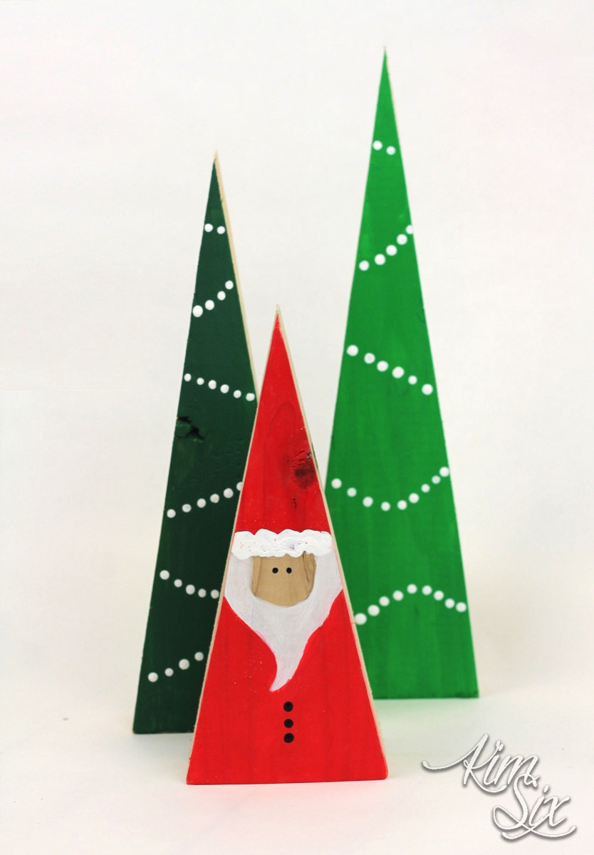 Wooden santa and trees from wood blocks
