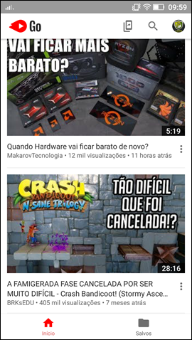 YouTube Go - Tela inicial