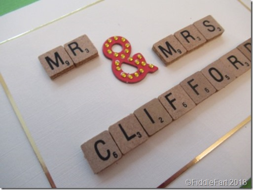 Mr and Mrs Wedding Scrabble card