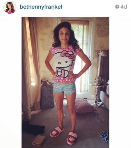 Bethenny Frankel wearing daughter's pajamas