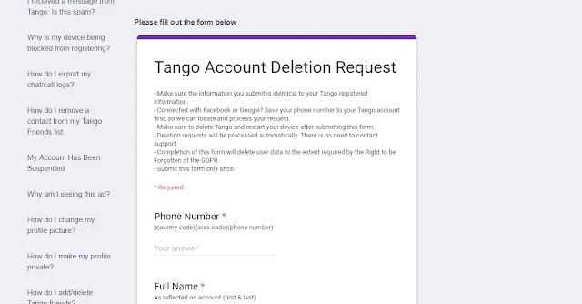حذف حساب التانجو نهائياً