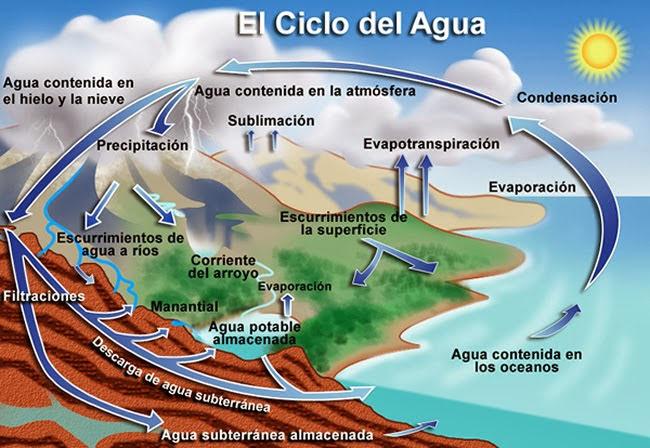 Dibujo esquemático del ciclo hidrológico
