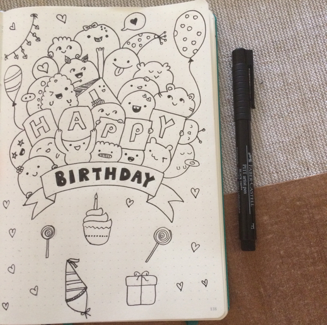 #100DaysOfDoodles   Day 8   Happy Birthday Doodle   The 100 Day Project 2017