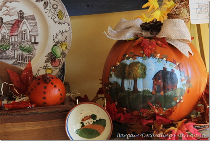 Painted Pumpkin Fall Vignette