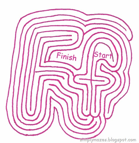 "Maze Number 119: The Letter ""F"".  A printable alphabet maze."