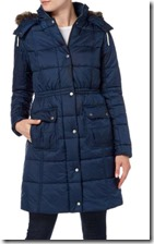 Barbour long quilted coat with fur trim