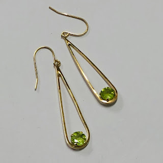 14K Gold and Stone Pendant Earrings