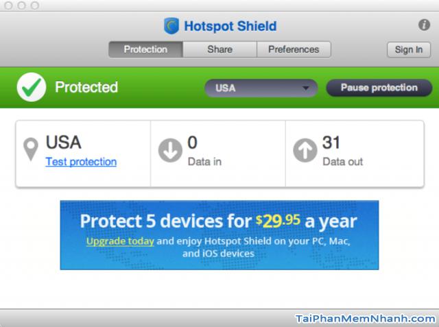 Các tính năng chính của Hotspot Shield
