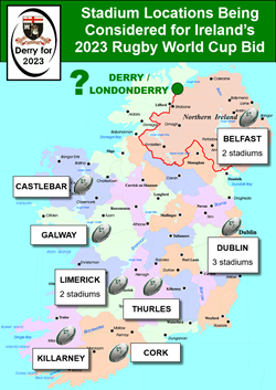 Venue map of Ireland - DerryFor2023