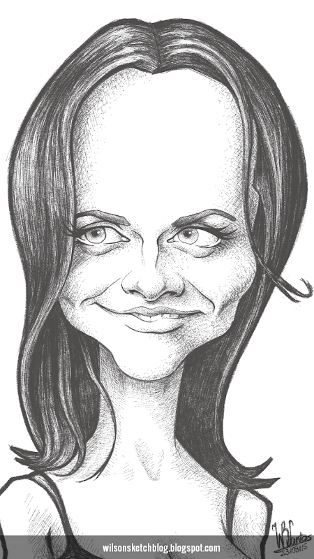 Caricature of Christina Ricci.