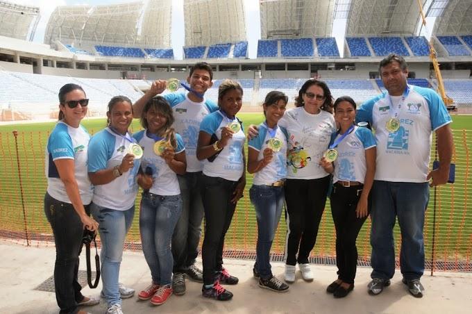Natal: Atletas vencedores dos Jerns 2013 visitam o estádio Arena das Dunas