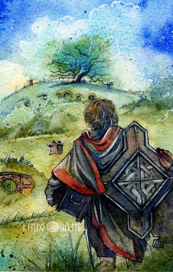 Bilbo: Back again... [water colour by Kinko-White] beautifully conveys how I feel about coming home to this blog after my adventure in self-hosting elsewhere