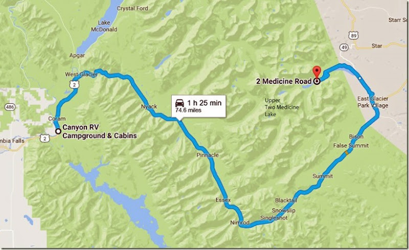 Canyon RV Campground & Cabins to 2 Medicine Rd, East Glacier Park, MT 59434, USA - Google Maps