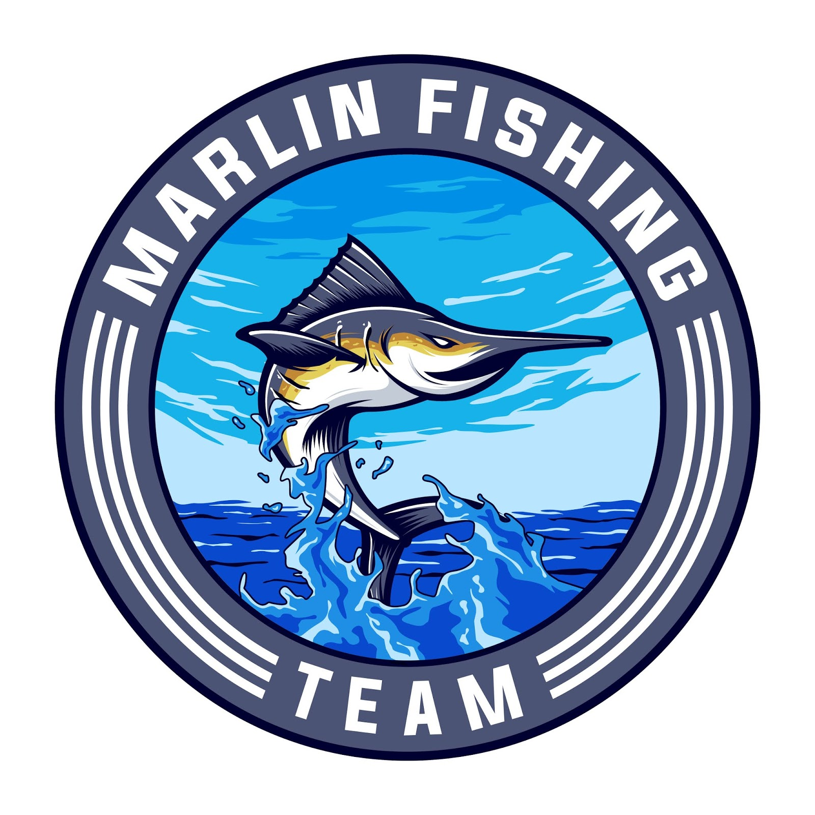 Marlin Sport Team Logo Design Free Download Vector CDR, AI, EPS and PNG Formats