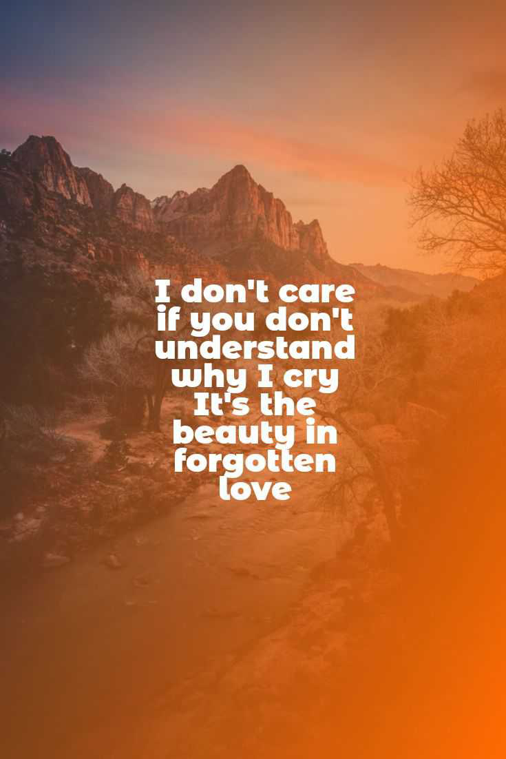 I don't care of you don't understand why I cry  It's the beauty in forgotten love