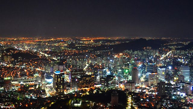 view from the N Seoul tower with the Han river in the background in Seoul, Seoul Special City, South Korea