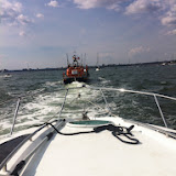View from aboard the 27ft motor cruiser under tow by Poole all weather lifeboat - 26 July 2014.  Photo credit: Dave Riley