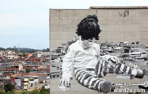 جداريات عملاقة رسم على المباني