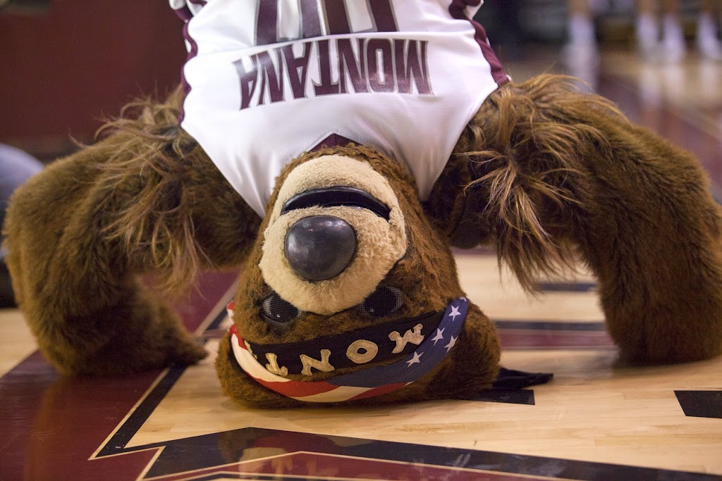 Monte does a bear-stand on the South baseline.  Dahlberg Arena in Missoula, Mont., January 3rd, 2013.
