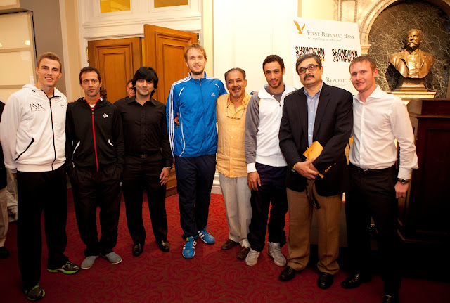 The folks from Dover Squash chatting with the pros before the matches.  Pictured from left to right: Nick Matthew, Amr Shabana, Arshad Burki, James Willstrop, Mahmud Jafri, Ramy Ashour, Feroze Mahmood, Paul Mathieson.
